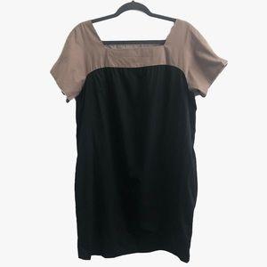 VINCE Shift Dress Black And Tan Square Neck Size L